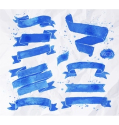 Watercolors ribbons blue vector image