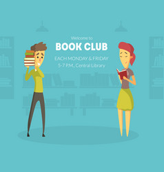 welcome to book club banner template with space vector image