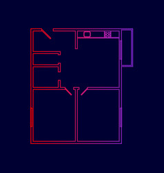 apartment house floor plans line icon vector image