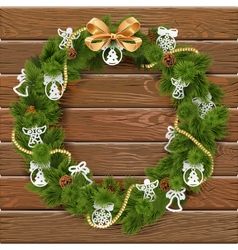 Christmas Wreath on Wooden Board 9 vector image vector image