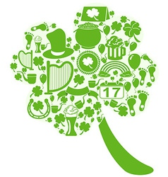 clover leaf with st patrick icons vector image vector image