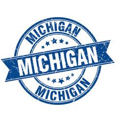 Michigan blue round grunge vintage ribbon stamp vector