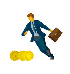 businessman running for coins - business concept vector image