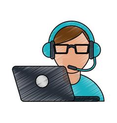 color pencil cartoon half body man customer vector image vector image