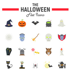 halloween flat icon set scary symbols collection vector image