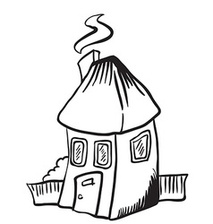 simple black and white little house isolated vector image
