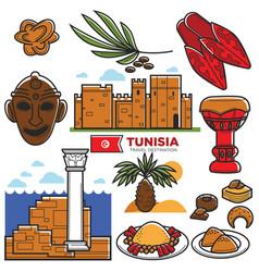 tunisia travel tourism famous symbols and tourist vector image vector image