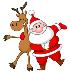 reindeer and santa vector image vector image