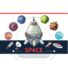 cartoon colorful space template vector image vector image