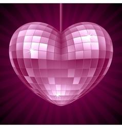 Disco Heart Purple mirror disco ball vector image vector image