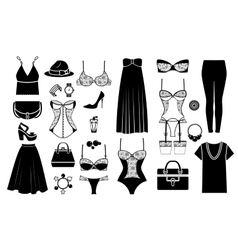 Hand drawn female fashionable clothes vector image