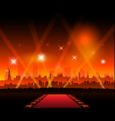 new-york city movie red carpet movie theater vector image vector image
