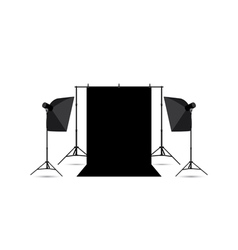 two softboxes and black photo background isolated vector image