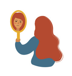 A girl with a sad face looks in mirror bad vector