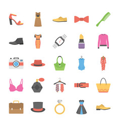a pack of fashion icons in flat design vector image