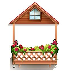 A wooden porch with plants vector