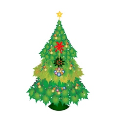 Baubles and Bow on Maple Christmas Tree vector
