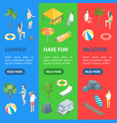 beach rest concept banner vecrtical set 3d vector image