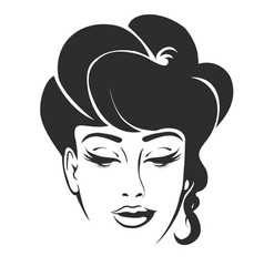 Beautiful woman face emblem vector