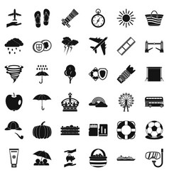 Big umbrella icons set simple style vector