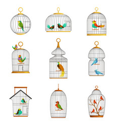 Bird cages with different birds set of vector