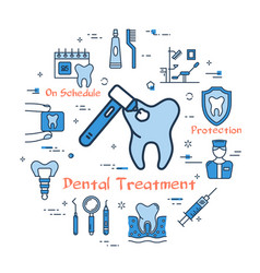 Blue round concept - dental treatment vector