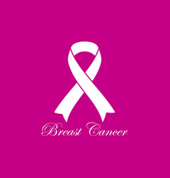 breast cancer awareness white ribbon on pink vector image