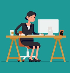 Business Lady Sitting at a Desk vector