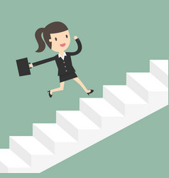 business woman running up stairs vector image