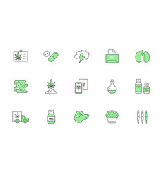cannabis production and shopping product icons vector image
