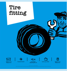 car service concept web banner tire fitting car vector image