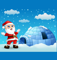 Cartoon santa claus with igloo in winter vector