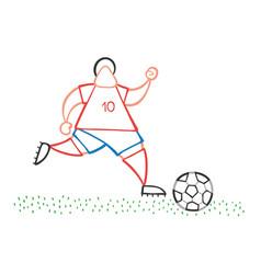 Cartoon soccer player man running and dribble vector