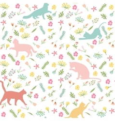 Cats and flowers seamless pattern vector