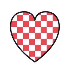 checkered heart love valentines card vector image