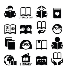 Children and adults reading books International vector