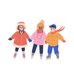 Children skating on ice rink and having fun vector