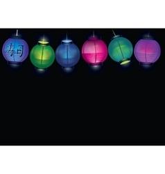 Chinese paper lantern garland vector image
