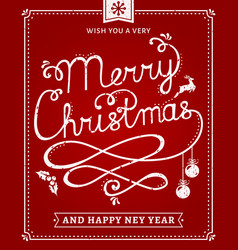 christmas and new year lettering card vector image
