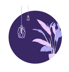 circle purple plant loft lamp modern banner vector image