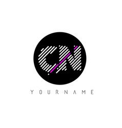cn letter logo design with white lines and black vector image