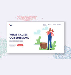 Co2 emission causes landing page template man vector