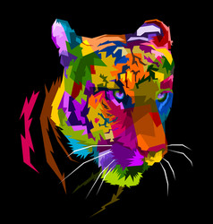 colorful tiger face isolated with white background vector image