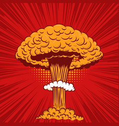 comic style nuclear explosion on pop art style vector image