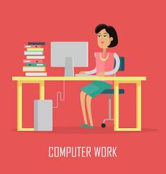 computer work concept in flat design vector image