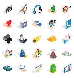 Connexion icons set isometric style vector