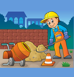 construction worker theme image 6 vector image