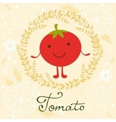 Cute tomato character on a floral vector