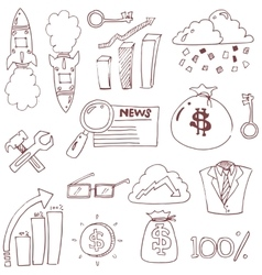 Doodle of business finance hand draw vector image vector image