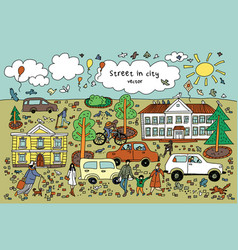 doodles abstract street in sity people cars houses vector image